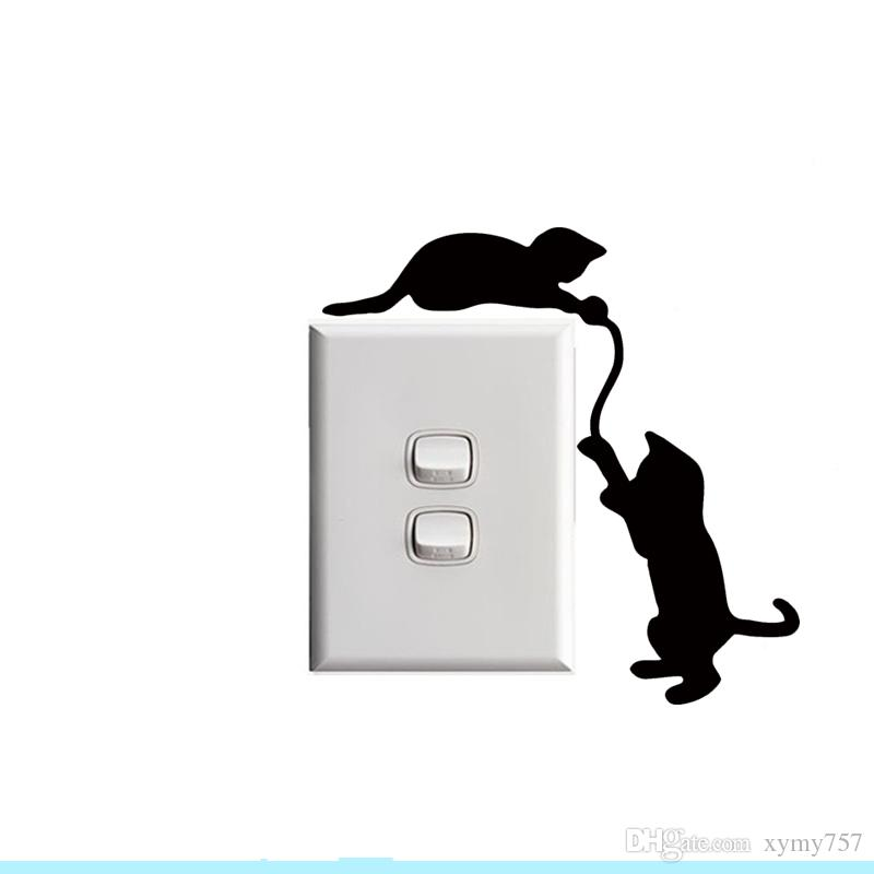 2017 Hot Sale Cool Graphics Cats For Light Switch Sticker Vinyl Decal Art Wall Any Room Christmas Gift Home Decor Creative Stickers