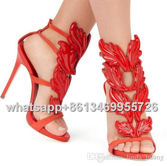 Hot Sale Metal Wings Leaf Strappy Dress Women Sandals Silver Gold Red Gladiator Stiletto High Heel Shoes Woman Metallic Winged Sandals