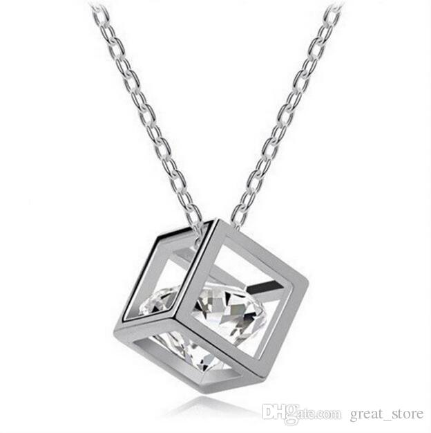 Bestes Geschenk Kristall Schmuck Würfel acht Herz acht Pfeile Zirconhalskette Liebe Anhänger WFN422 mit Kette Mischungsauftrag 20 Stücke viel