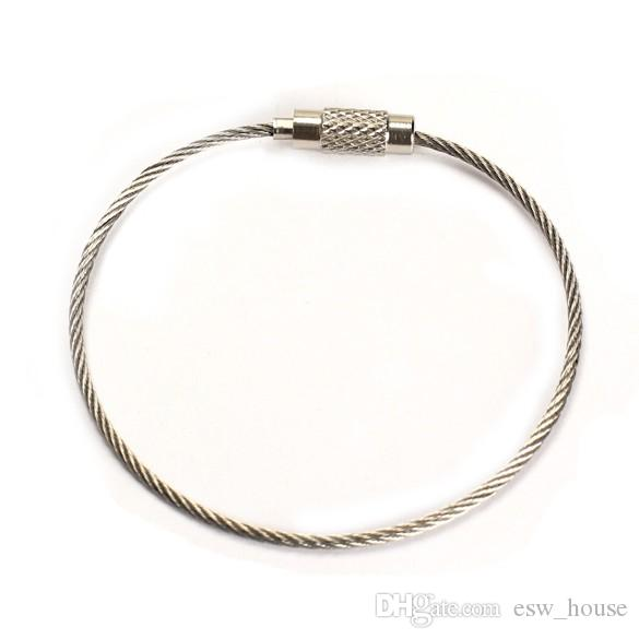 Good Quality Stainless Steel Wire Keychain Wire Rope Key Chain Carabiner Cable Key Ring Keyring for Outdoor Hiking