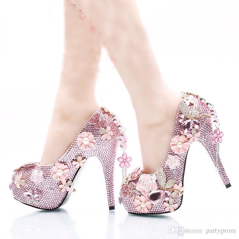 4ef4977339b196 Acheter Luxurious Pink Strass Chaussures De Mariage Nuptiale Talons Hauts  Plates Formes Crystal Cinderella Robes De Partie De Bal Plus Grande Taille  Femmes ...