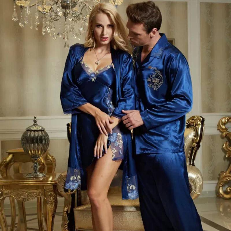 2019 Wholesale XIFENNI Brand Couple Nightgowns For Men Women Fashion Blue Sleepwear  Sexy Satin Silk Pyjama Lounge Embroidery Lovers Nightwear From Stepheen ed6208f51