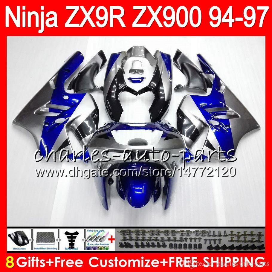 8Gifts för Kawasaki ZX 9 R ZX9R 94 95 96 97 900cc 49HM9 ZX Blue Silver 9R ZX900 ZX900C ZX-9R 1994 1995 1996 1997 Fairing Kit
