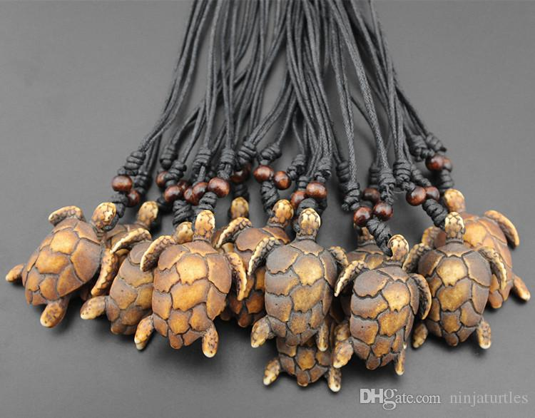 Jewelry Wholesale Simulation Yak Bone Carved Sea Turtles Pendant Boy Men's Surfing Necklace Amulet Gift MN448
