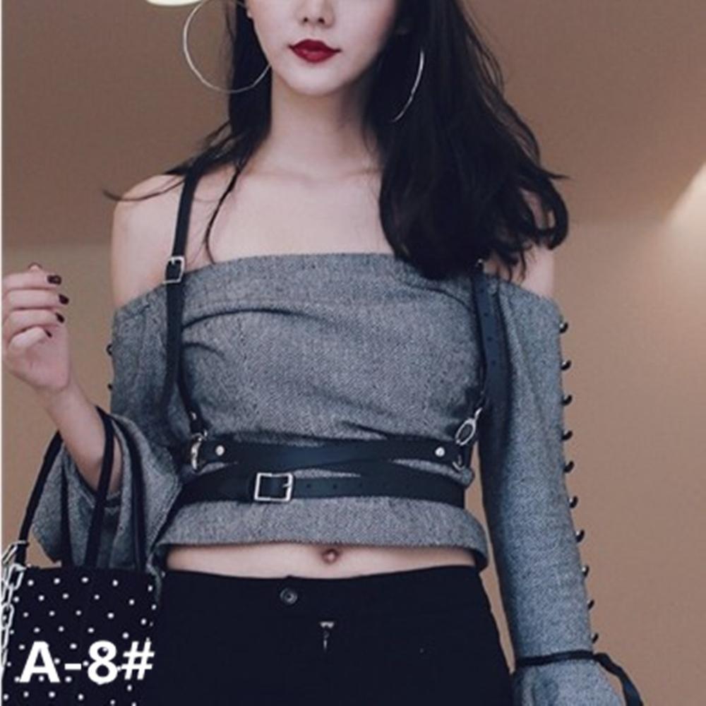 Gothic Suspender Women Leather Harness Fashion Sexy Punk Cross Sculpting  Body Waist Belt 100% handmade 4d5f5fa8309