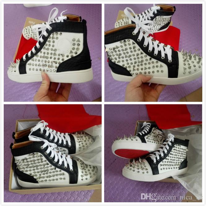 0d83ef08ec9a Latest Black Red White Red Bottom Shoes Men Women Sneakers With Spikes  Rivet Fashion Casual Flat Shoes 2017 Designer Trainers Size 5.5 12 Indoor  Soccer ...