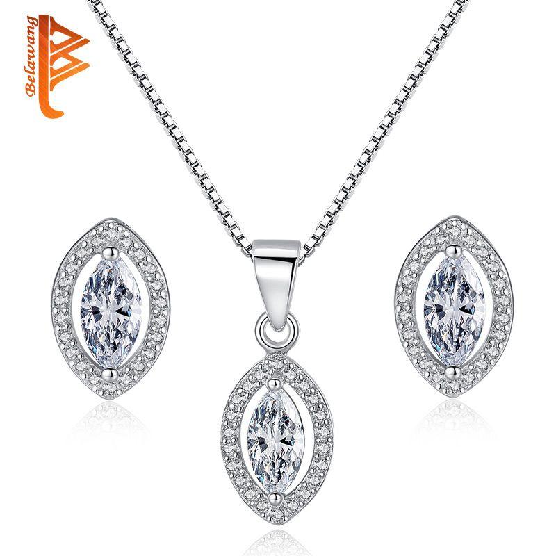 eadd136be 2019 BELAWANG 925 Sterling Silver Crystal Jewelry Sets For Women Girls  Princess Cut AAA+ Cubic Zirconia Stud Earrings&Pendant Necklace From  Belawang_fashion ...