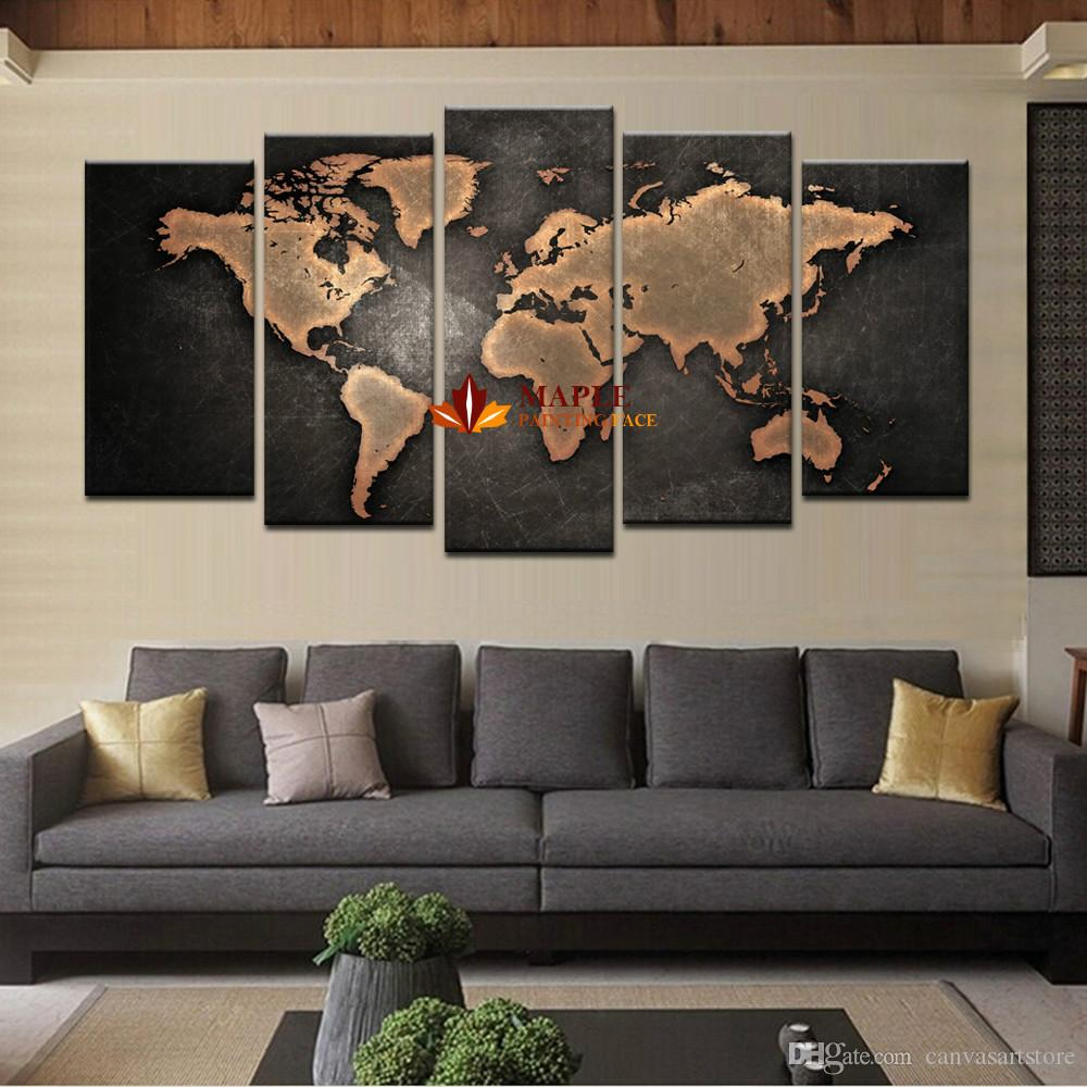 2017 5 Panel Large Canvas Art Modern Abstract Wall Art Painting World Map Canvas  Painting For Living Room Home Decor Picture From Canvasartstore, ... Part 82
