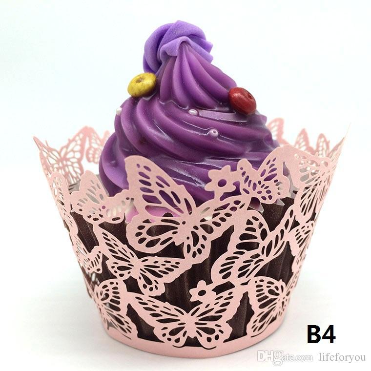 faveurs de mariage papillon vigne en filigrane découpé au laser dentelle coupe tasse gâteau Wrapper Cupcake Wrappers pour la décoration de fête d'anniversaire de mariage par