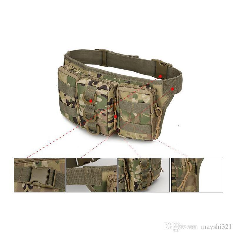 Al aire libre Molle Gear Camuflaje a prueba de agua que acampa yendo de excursión Mans Mans Bolsa de la cintura Deporte Paquete Bolsa de mensaje Tactical Bolsa militar Bolsa