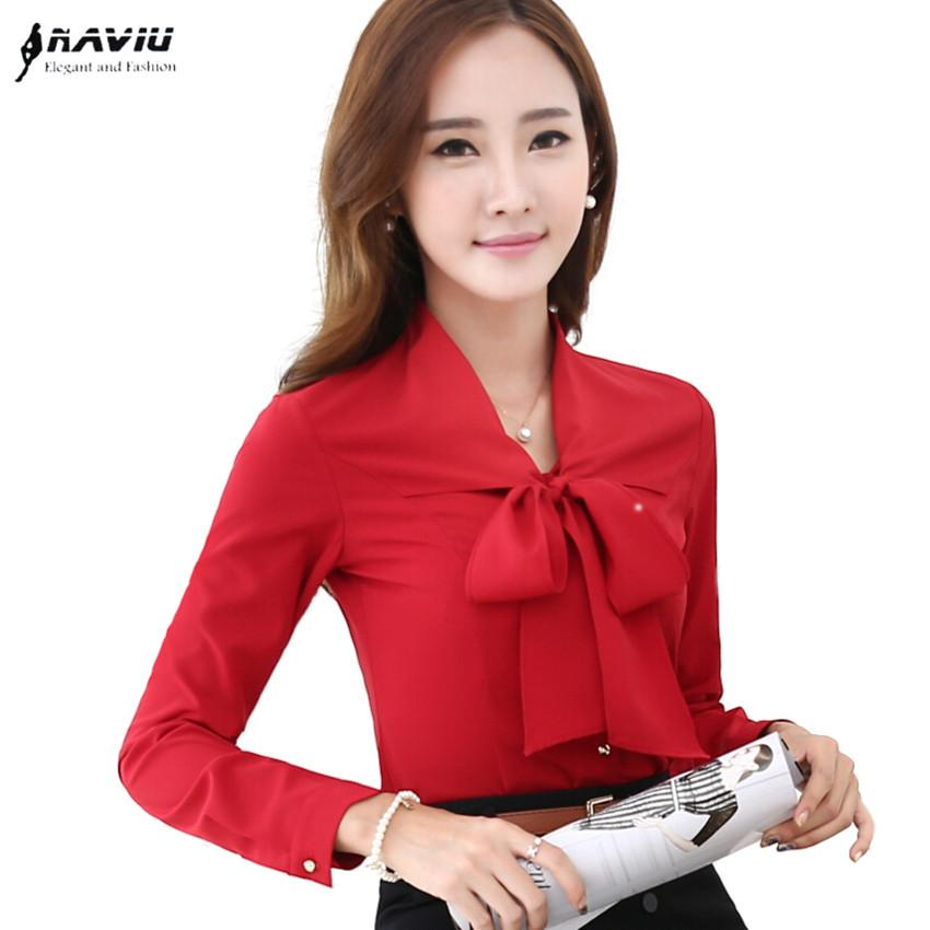 e63306e63c53d Compre Nuevo Diseño De Moda Estilo Coreano Blusas De Las Mujeres Con Arco  De Manga Larga Blusas De Gasa Oficina Femenina Volantes Camisas A  19.0 Del  ...