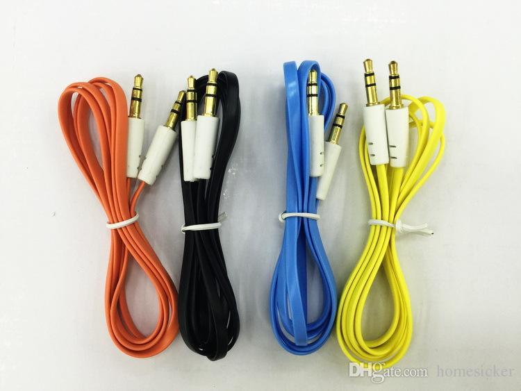 1M Colorful Flat, такой как 3,5-мм дополнительный аудио кабель Aux к штекеру для подключения штекерного кабеля, для смартфона iphone / samsung / huawei