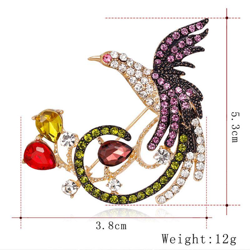 Animal bird Brooch Zinc Alloy Full Rhinestone Cartoon Phoenix Brooches Pin Ornaments Corsage Jewelry Clothing Scarf Buckle Suit Accessories
