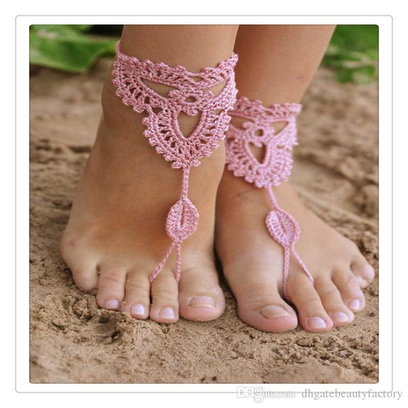 En gros De Mariée En Dentelle Chaussures Crochet Barefoot Sandales Plage Nude Chaussures Yoga Chains Pieds De Cheville Bridesmaid De Mariage Accessoire Fournitures DHL