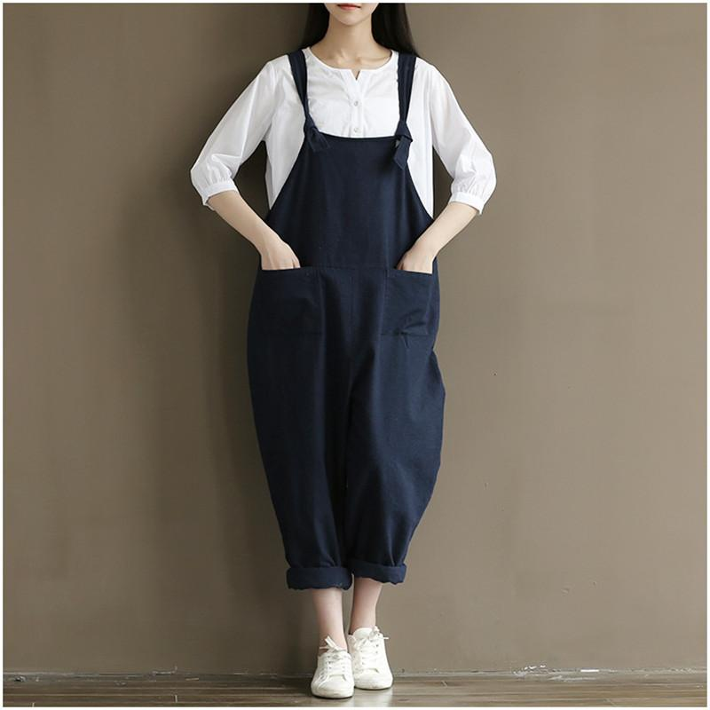 c67a50a402606 2019 Wholesale Womens Loose Jumpsuits Street Casual Overalls 2017 New Cotton  Linen Plus Size 4XL Jumpsuit Clothes Rompers Women Wide Leg Pants From  Peay