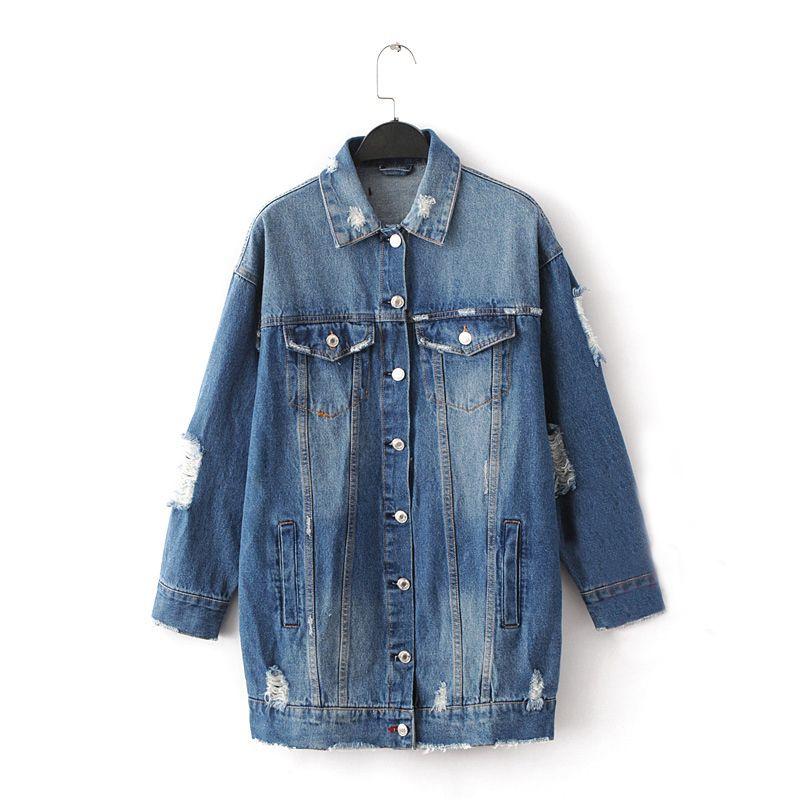 2017 Denim Jackets Women Hole Boyfriend Style Long Sleeve Vintage ...