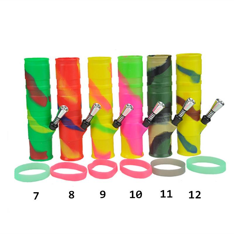 Colorful Silicone Water Pipes for Smoking Dry Herb Unbreakable Water Percolator Bong with 9mm Joint Metal Straight Perc Silica Gel DHL Free
