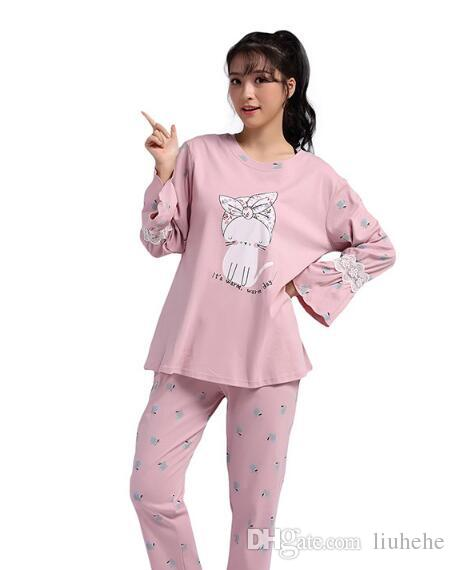 2017 autumn and winter new ladies cotton pajamas suit Korean casual long-sleeved trousers home service