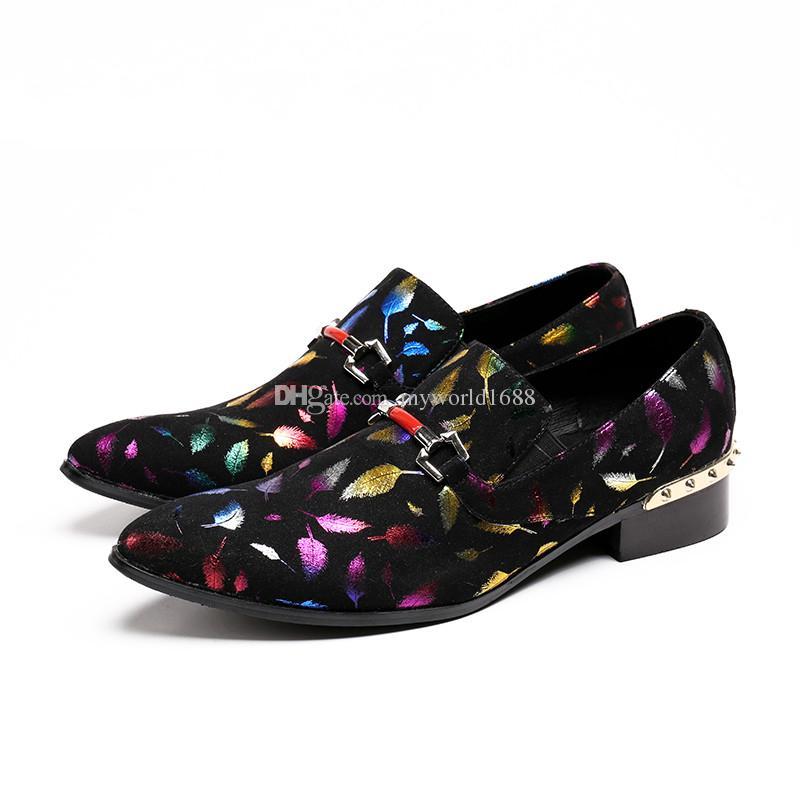 Rivet Block Heels Mens Dress Shoes Mixed Colors Male Creepers Spiked Design Zapatillas Hombre New