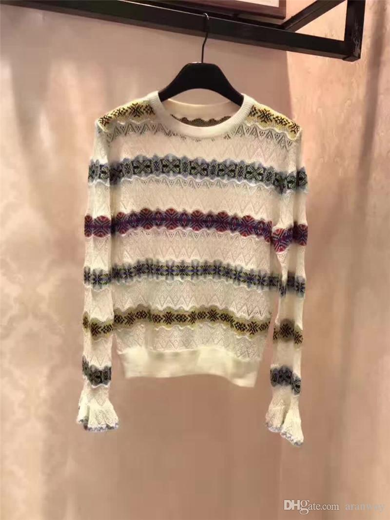 2017 Fashion Women Sweater White Cotton Hollow Out Sweater For ...