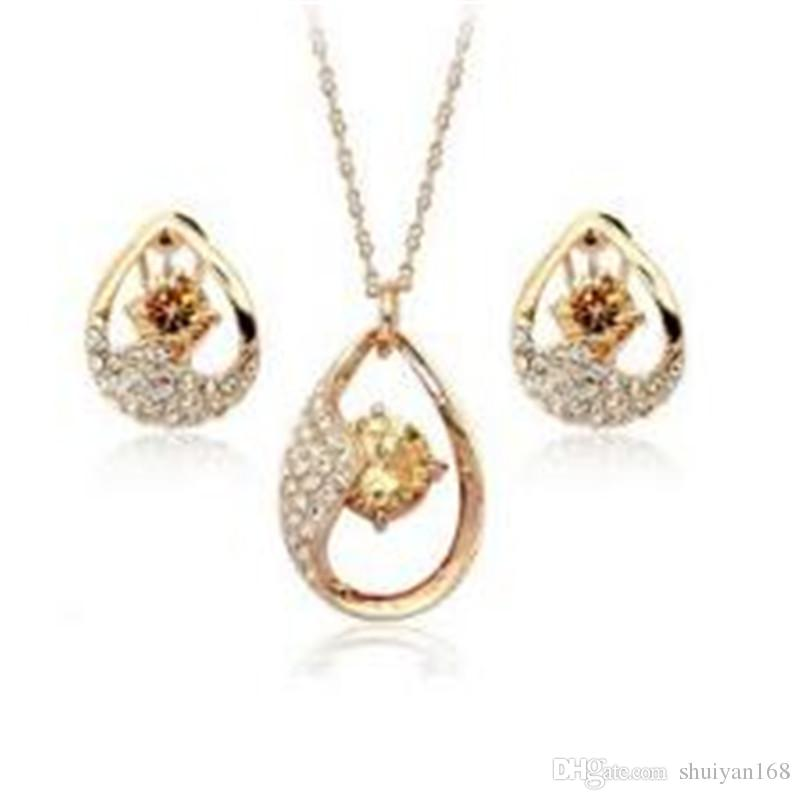 DHL Drop Zircon Pendants Necklace Stud Earrings Drop Jewelry Sets Women Fashion Crystal Jewelry for Girls Xmas Gift
