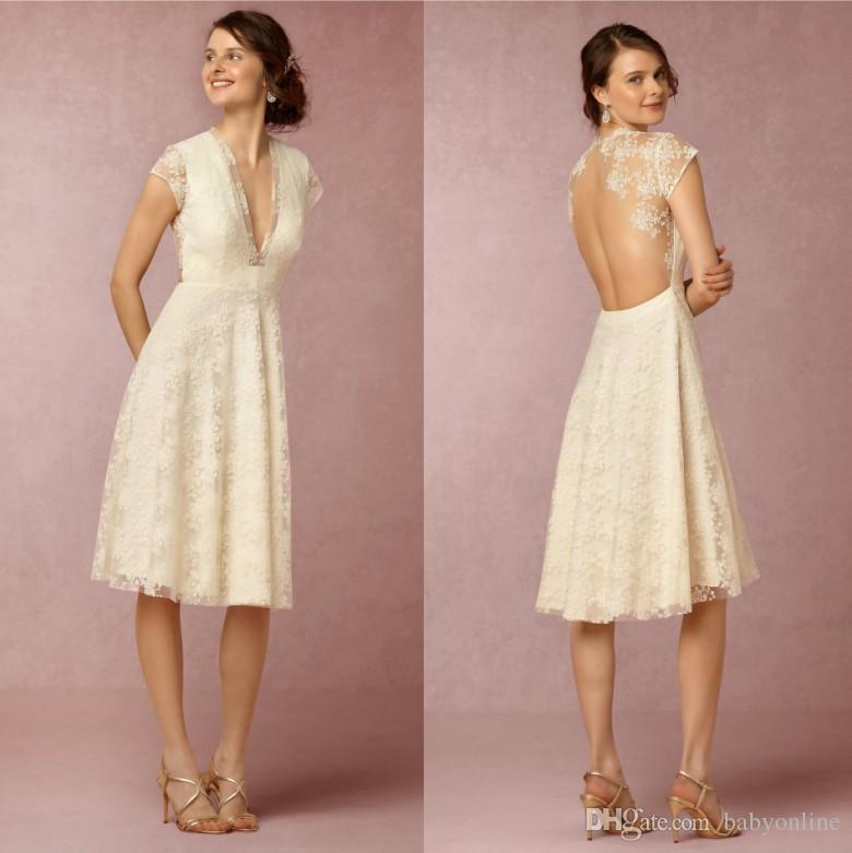 Discount Modern Lace Summer Short Wedding Dresses High Quality Cap ...