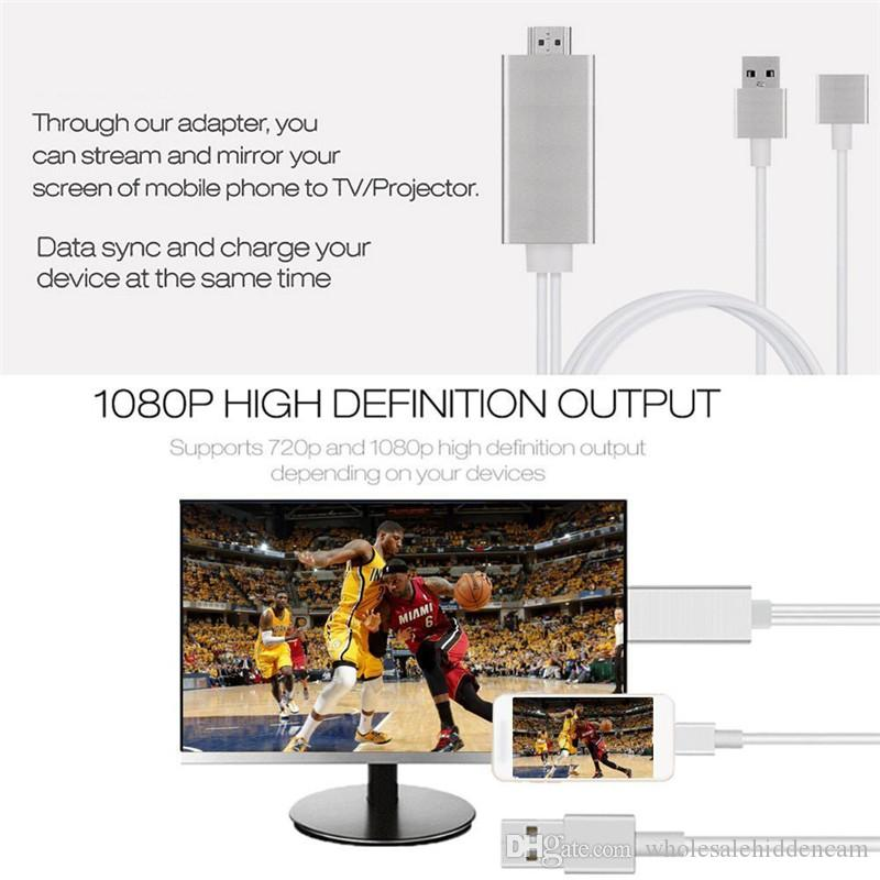 Hot Selling 2M 3 in 1 HDMI Cable for Iphone 5 5S 6S 6 7 7 Plus/ Android Phone /Type C Device to HDMI Cable 1080P HDTV Cable Adapter