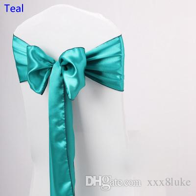 Teal colour satin sash chair high quality bow tie for chair covers sash party wedding hotel banquet home decoration wholesale