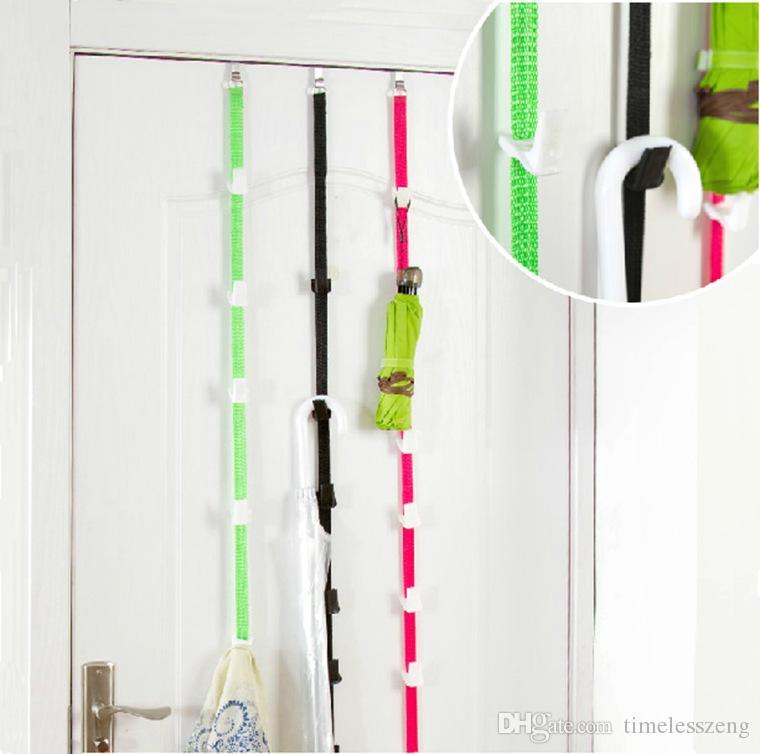 GANCHO DE UPDN Gancho de puerta ajustable ajustable Cuerda de almacenamiento multiuso Mlticolor Cuerda de puerta trasera Sostener muchas cosas