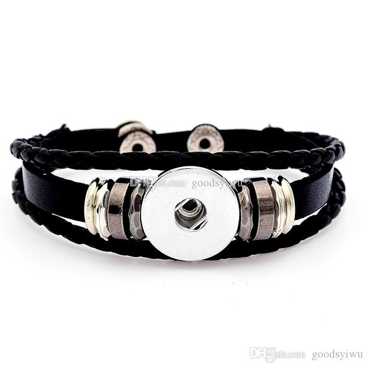 Fashion 6 Styles DIY Multilayer Leather Noosa Chunk 18mm Metal Button Bracelet Ginger Snap Button Statement Jewelry