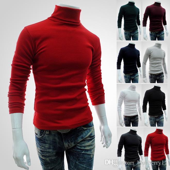 1cb97cf9ae8 Acheter 2017 Hiver Automne Hommes Col Roulé Pulls Noir Pulls Vêtements Pour  Homme Coton Tricoté Chandail Mâle Pulls Pull Hombre XXL De  22.85 Du  Blueberry11 ...