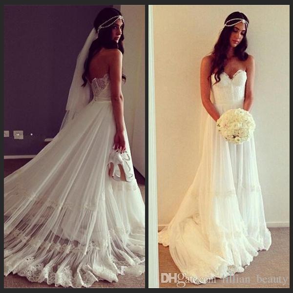 Discount Arabic Dubai Hippie Wedding Gowns Bohemian Beach