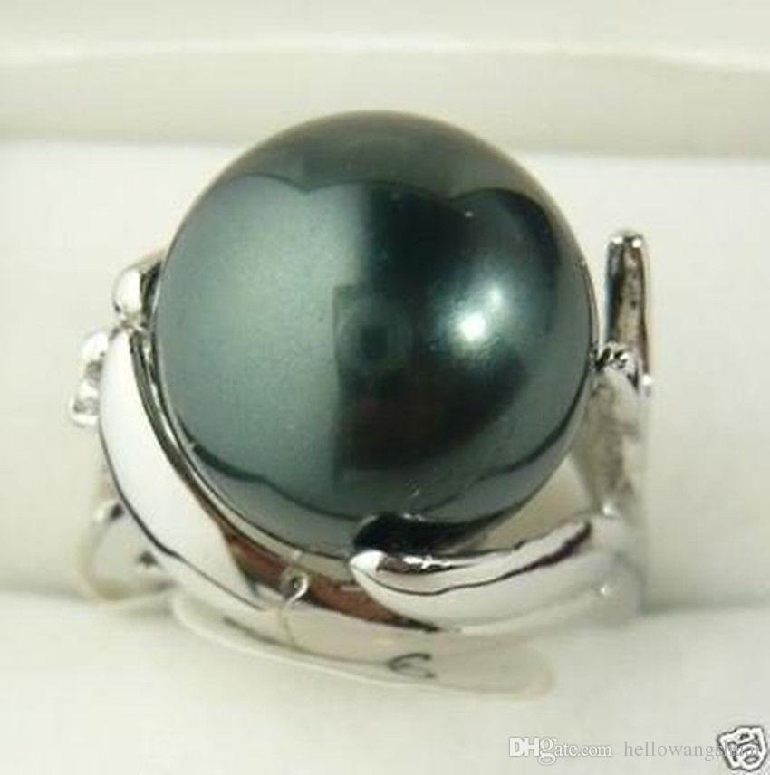 Elegante anello da donna 12mm nero con perla a conchiglia meridionale 7 8 9