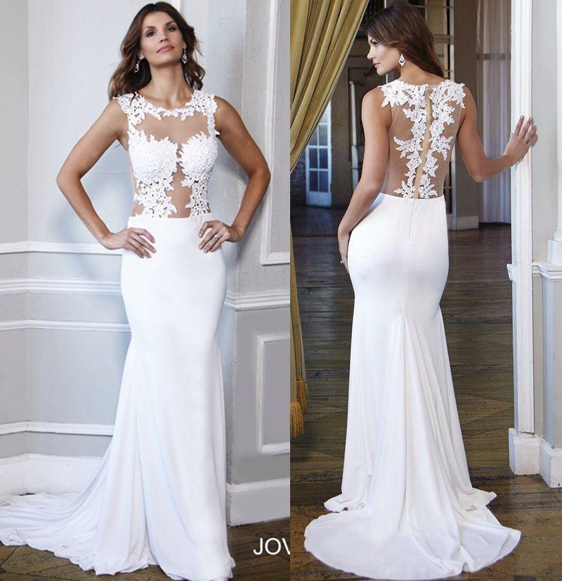 Silk Satin White Beach Wedding Dresses Cheap 2017 Illusion Tulle ...