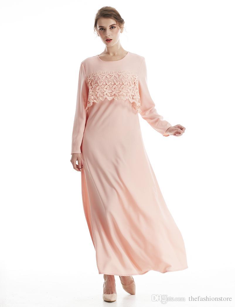 Compre Nuevo Diseño Elegante Musulmán Abaya Colores Sólidos Vestido ...