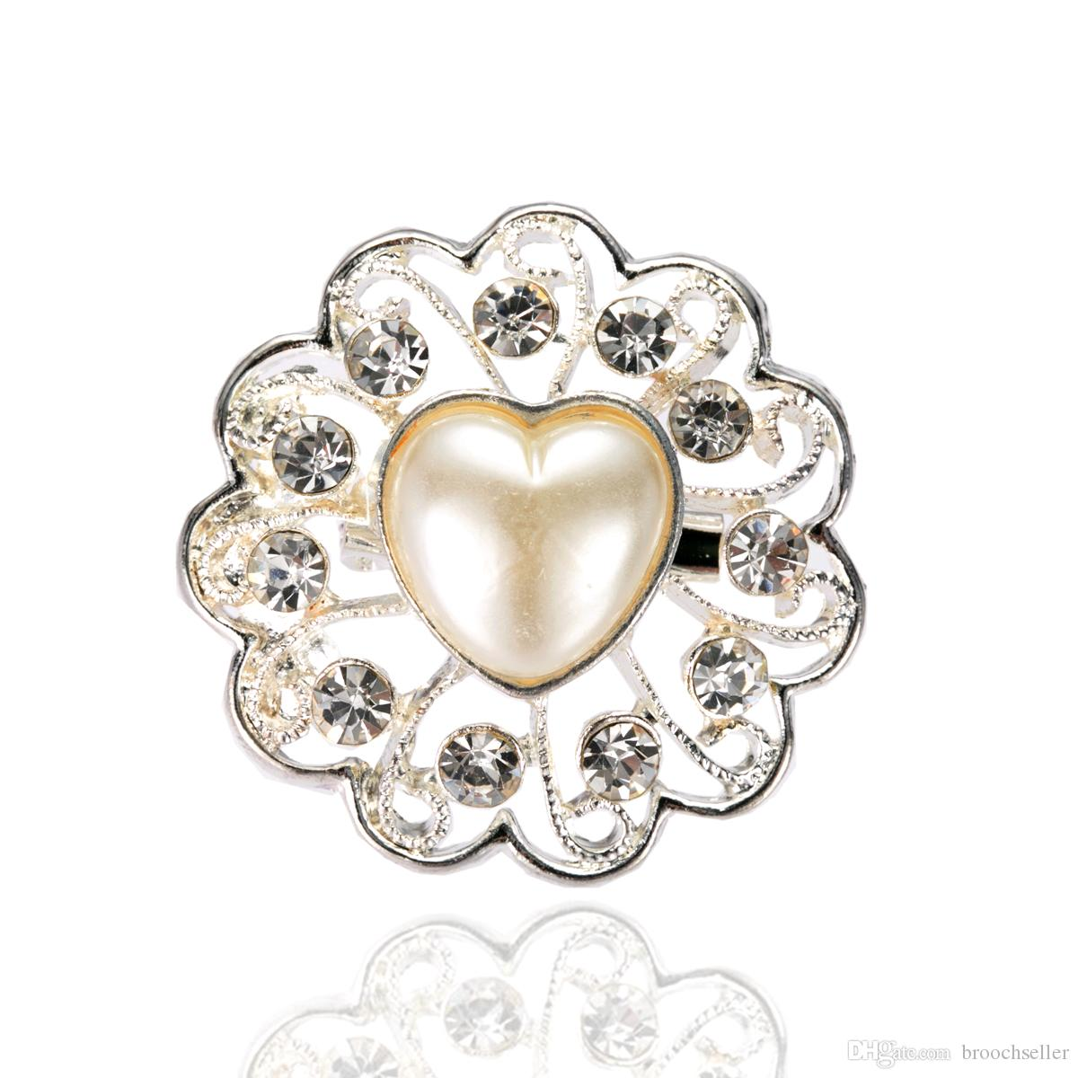 1.4 Inch Silver Plated Heart Shaped Pearl and Rhinestone Flower Brooch