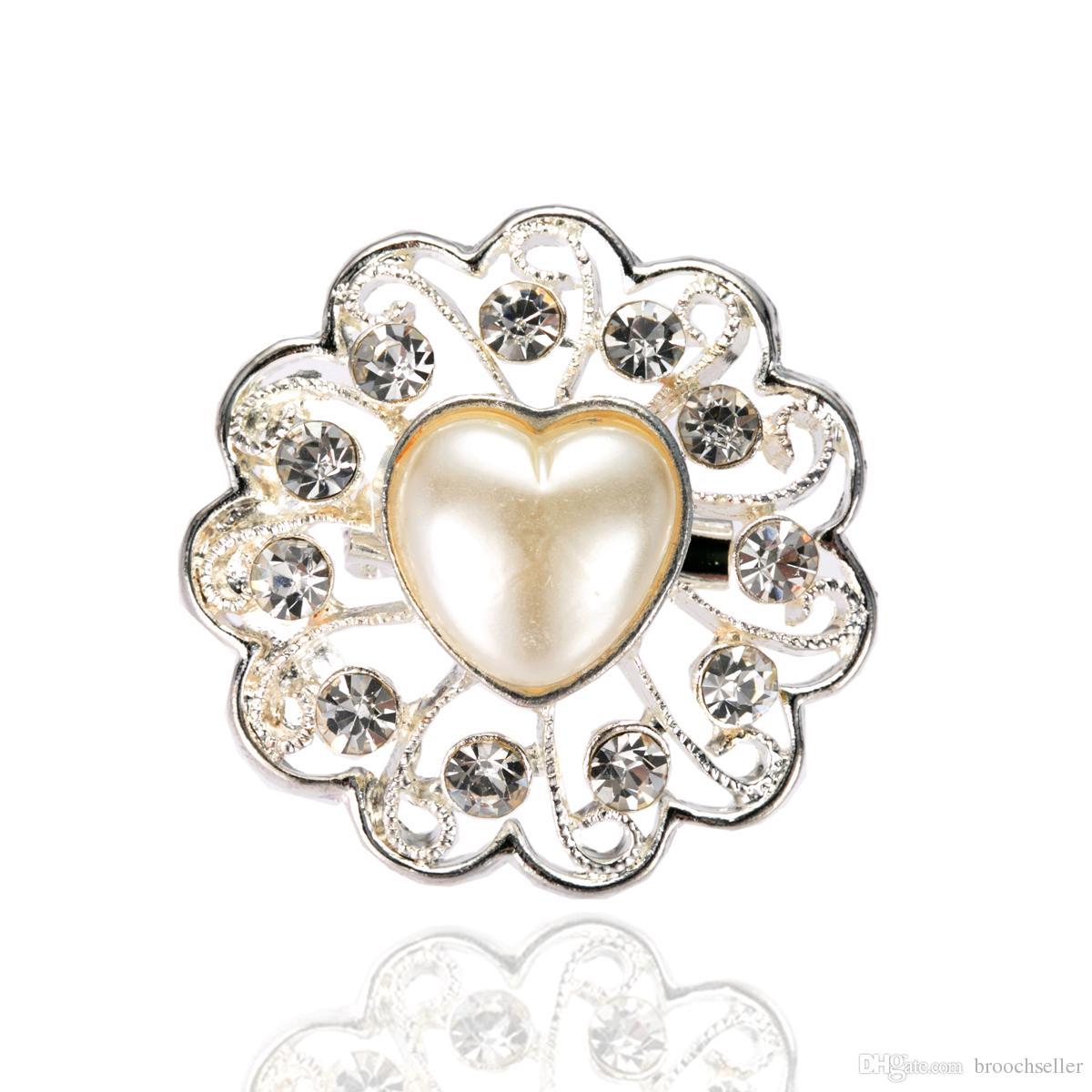 1,4 tums silverpläterad hjärtformad pärla och rhinestone blomma brosch