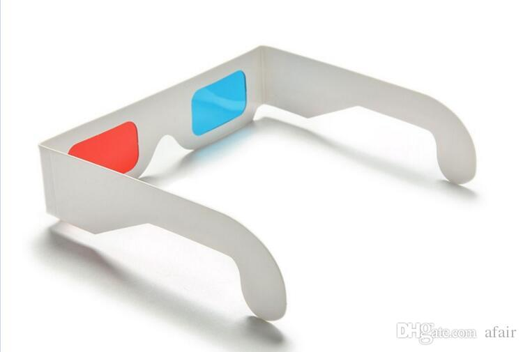 3D Paper Glasses Red & Blue Cyan Paper Card 3D Anaglyph Glasses Offers a Sense of Reality Movie DVD for women men DHL