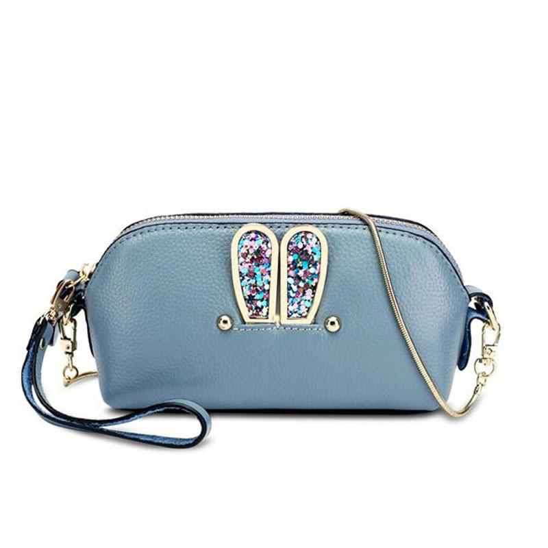 ef6866803267 Wholesale Genuine Leather Bags Women Real Leather Blue Mini Crossbody Bag  With Chain Shell Handbag Rivet Women Messenger Bags Shoulder Hobo Purses  Leather ...