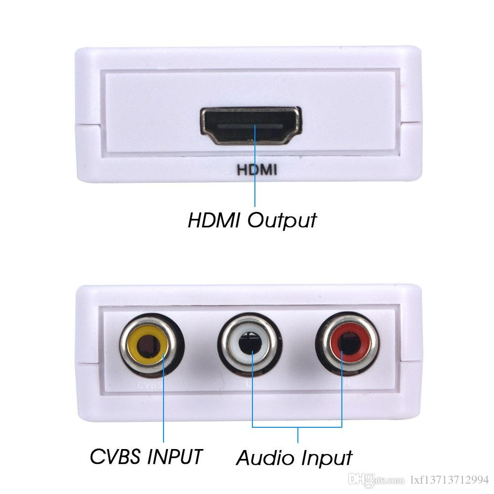 DHL libera el envío HDMI2AV 1080P HD Adaptador de video mini HDMI a AV Converter CVBS + L / R HDMI a RCA