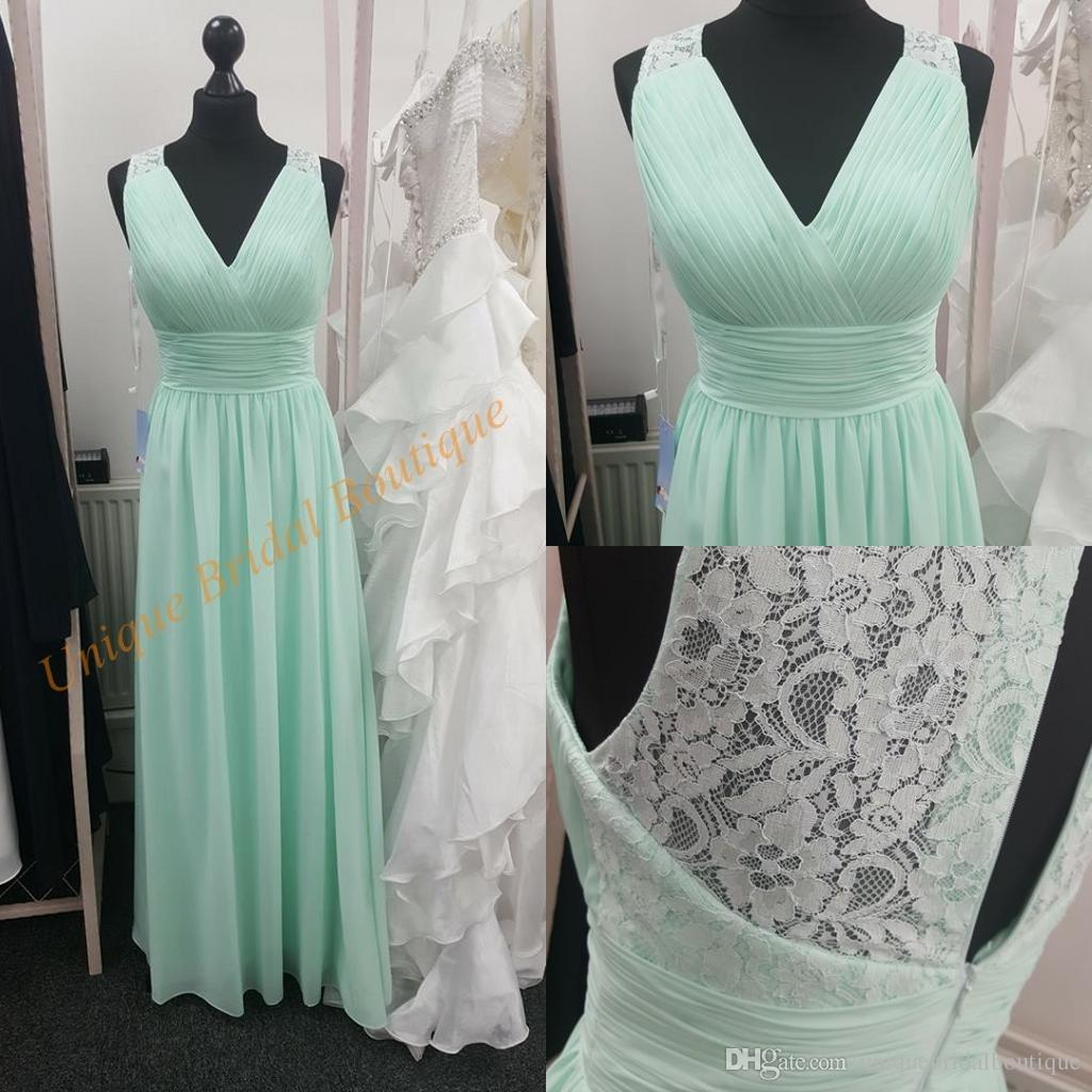 Mint junior bridesmaid dresses 2017 with v neck and lace back real mint junior bridesmaid dresses 2017 with v neck and lace back real pictures pleated chiffon long formal gowns sleeveless custom made polka dot bridesmaid ombrellifo Image collections