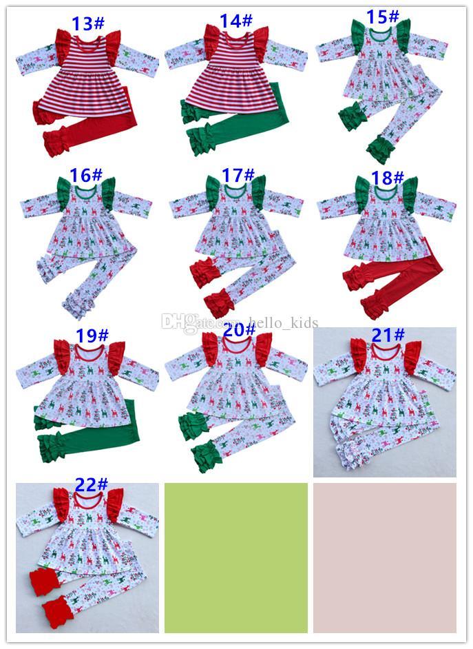 Menina de bebê Natal pijama de algodão teria longa camisa de tarja de manga voadora + leggings 2 peças sets meninas boutique partido roupa roupas para crianças