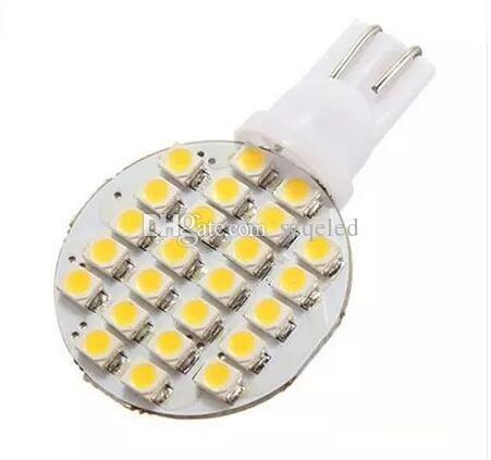 T10 Wedge W5W 24 LED SMD Branco / Branco Quente RV Luz Lâmpada Lâmpadas de Estacionamento Carro Instrumento Luz DC12V