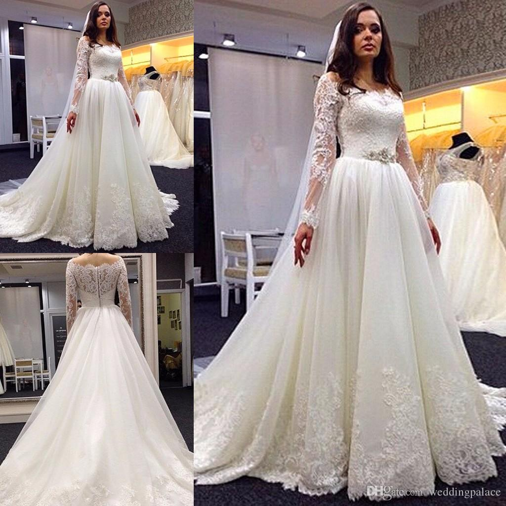 Discount Latest Long Sleeve A Line Wedding Dresses Lace