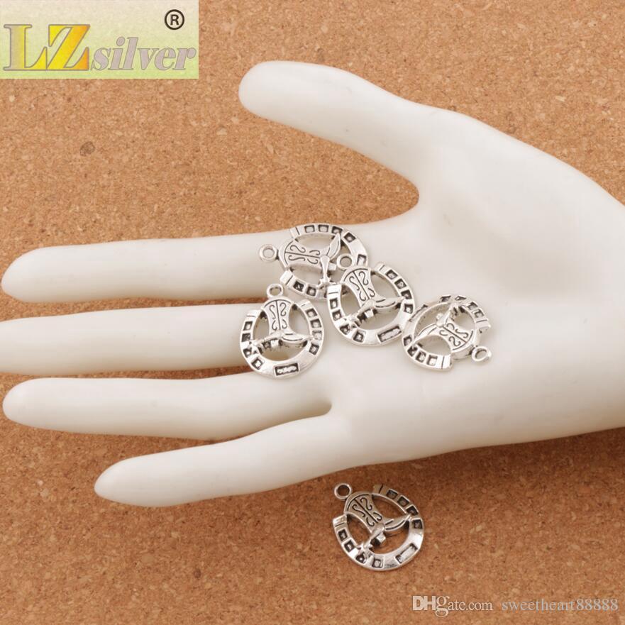 Horseshoe Boots Spacer Charm Beads 19x24.5mm Tibetan Silver Pendants Alloy Handmade Jewelry DIY L277