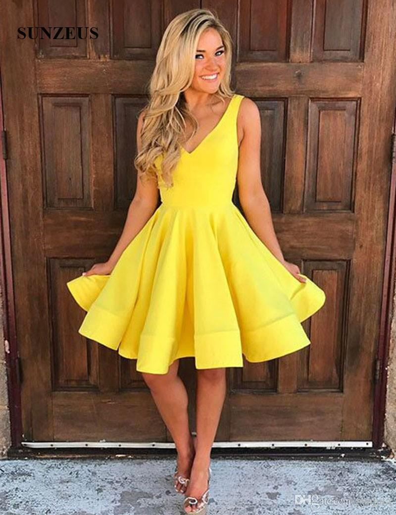 8792c920ddd V Neck Yellow Short Homecoming Dresses for Girls Tank A-Line Simple Knee-Length  Graduation Gowns Robe De Cocktail Satin