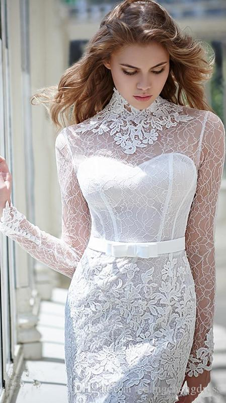 2019 Long Sleeves Wedding Dresses Inspired by Victoria F. Sexy Lace Mermaid Bridal Gowns High Collar with Exquisite Appliques See Through