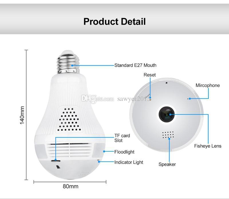 Bombilla Wifi Cámara IP 360 grados HD 960P Bombilla panorámica ojo de pez Lámpara Cámara Wifi P2P Teléfono Cámara CCTV remota Monitor de bebé