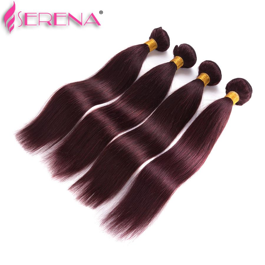 Brazilian Burgundy Hair With Lace Frontal Closure 13x4 inch Silk Straight #99J Wine Red Human Hair Bundles With Ear to Ear Full Frontals