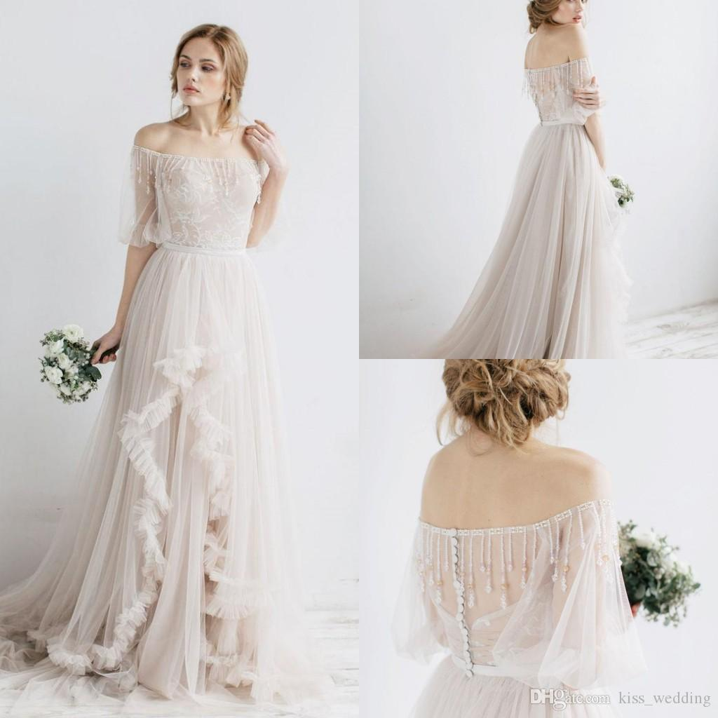 0c3e79afff91 Discount Beautiful A Line Wedding Dress 1/2 Sleeves Off Shoulder Bridal Gown  Marriage Vestido De Novia Beading Lace Tulle Beach Boho Wedding Gowns  Unusual ...